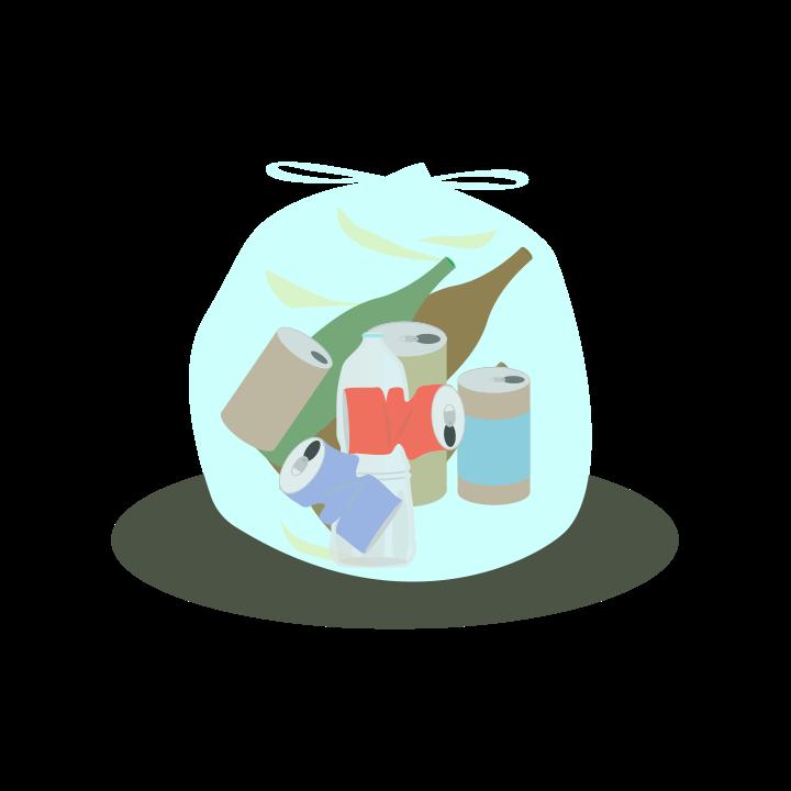 空き缶・空き瓶のゴミのイラスト