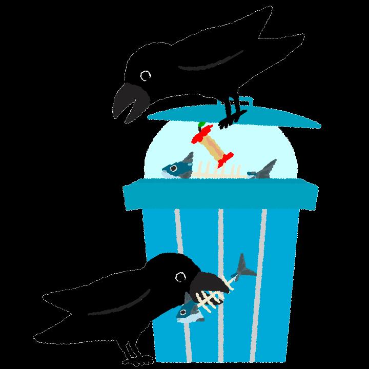 ゴミ箱を荒らすカラスのイラスト
