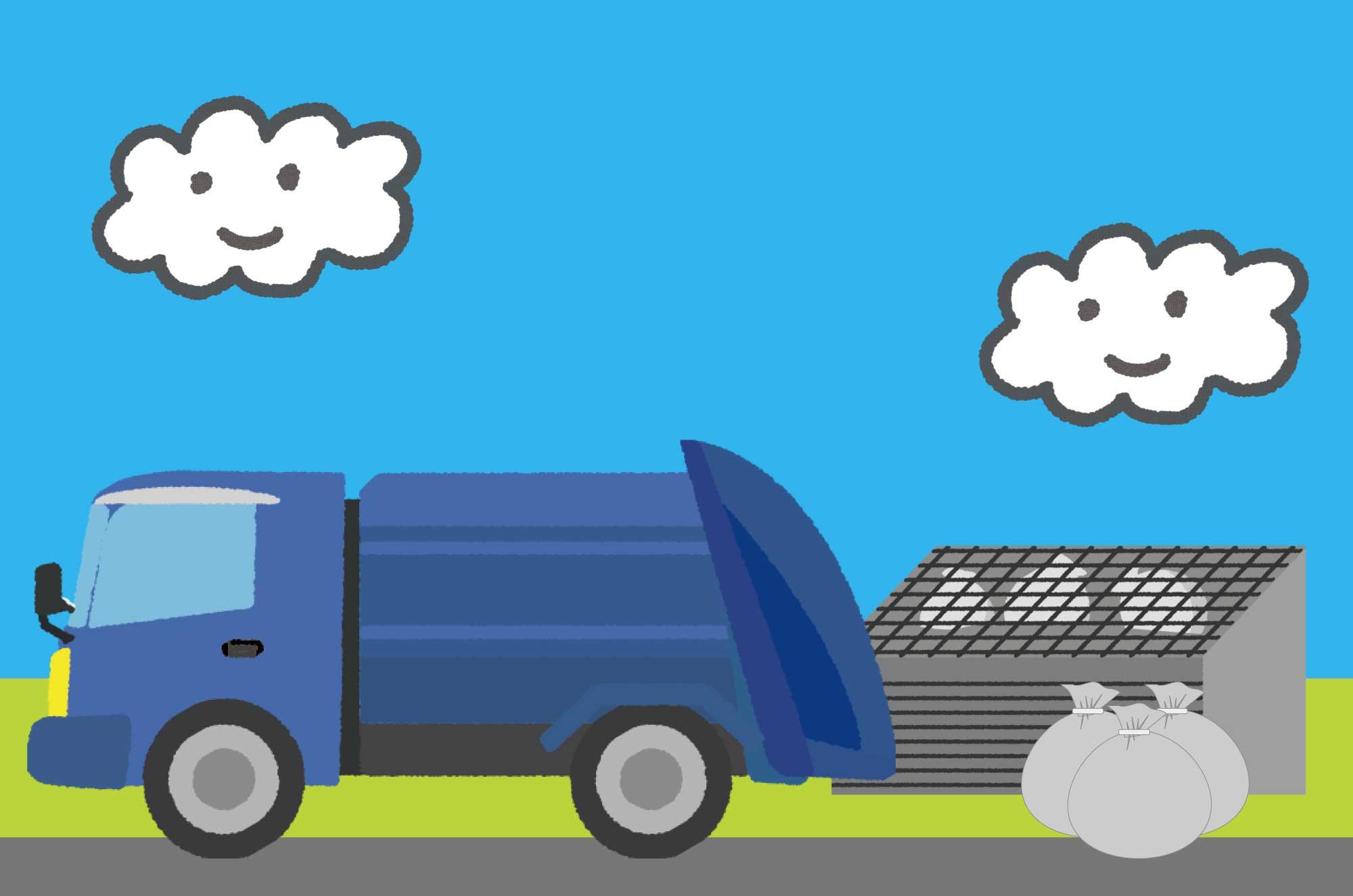 可愛いゴミ収集車のイラスト - 街の働く乗り物素材
