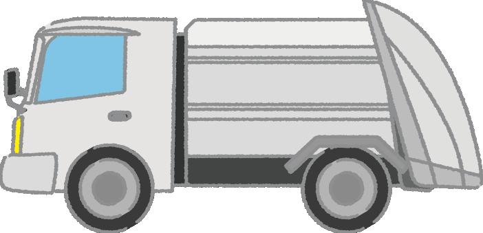 白いゴミ収集車のイラスト