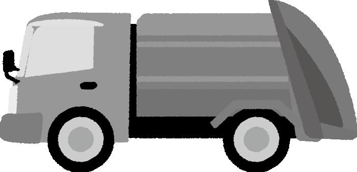 白黒のゴミ収集車のイラスト