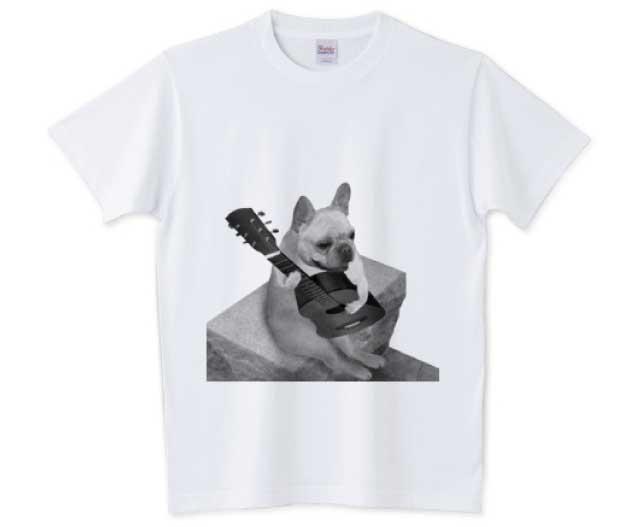 ギターフレンチブルドッグTシャツ ホワイト