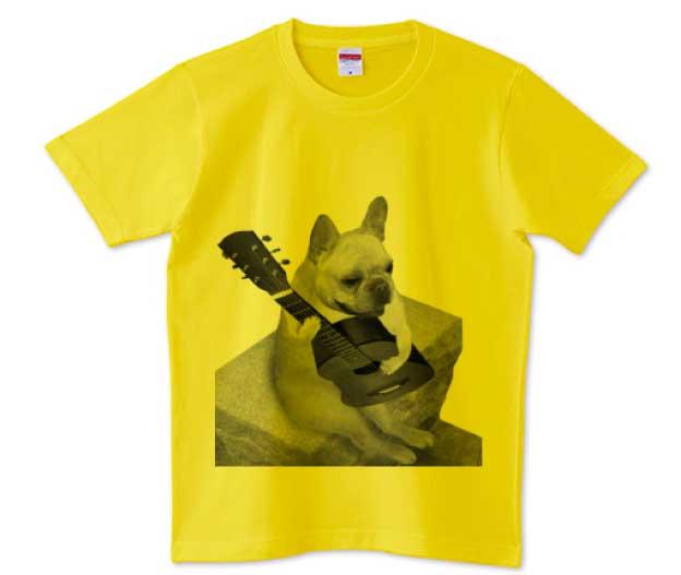 ギターフレンチブルドッグ5.0ozTシャツ イエロー