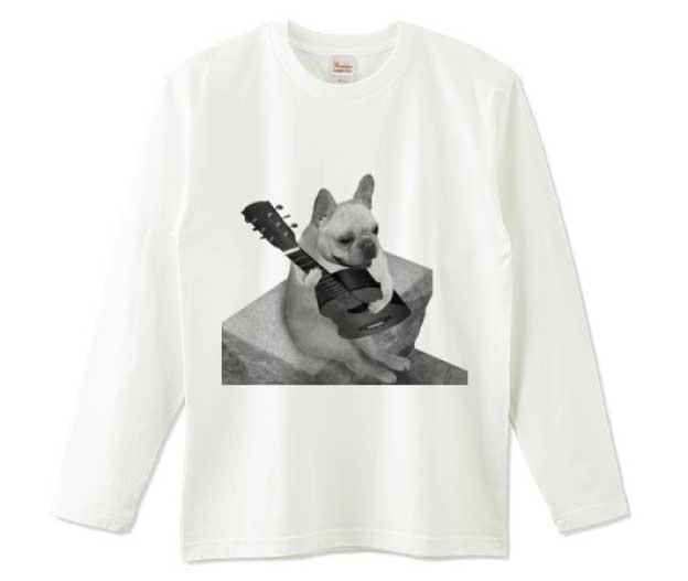 ギターフレンチブルドッグ長袖Tシャツ ホワイト