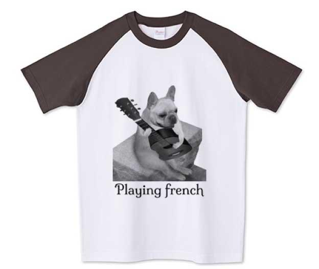 ギターフレンチブルドッグPlaying frenchTシャツ