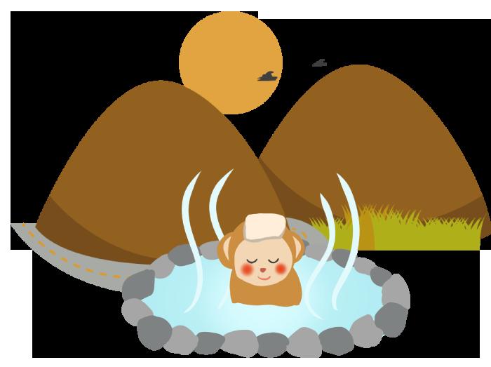 赤城山と温泉に浸かる猿のイラスト