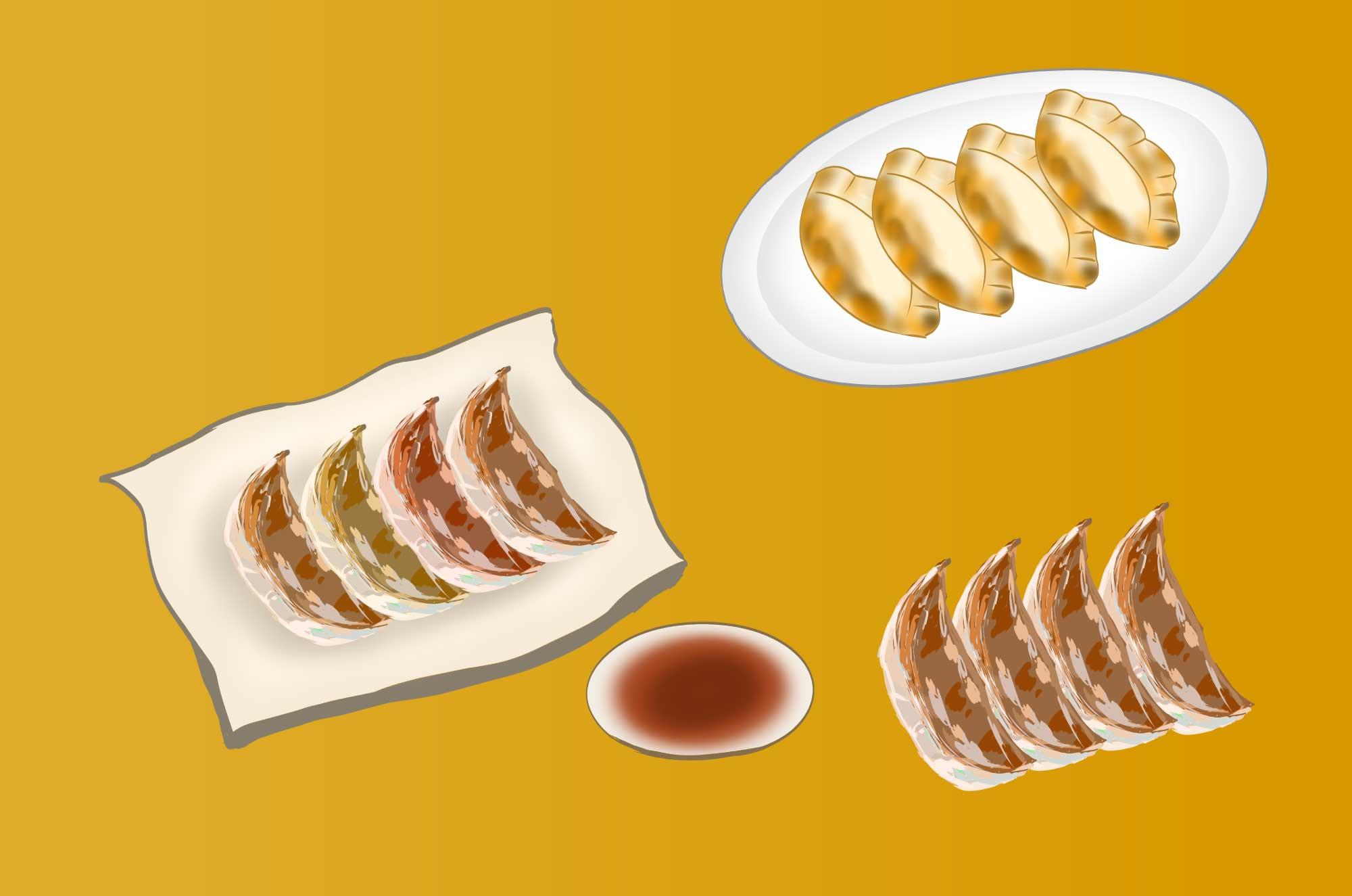 餃子の無料イラスト - 手書きのラフな食べ物素材
