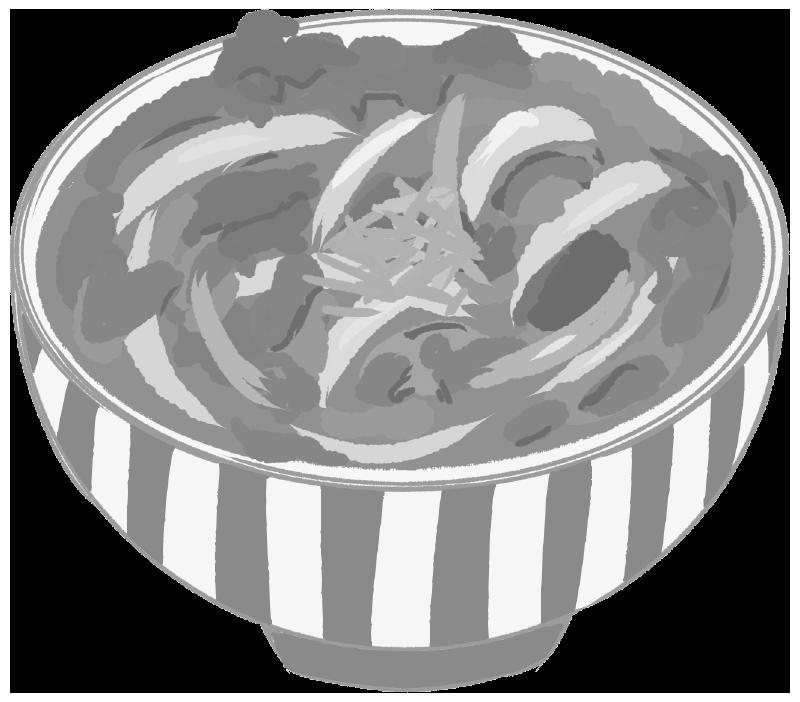 牛丼のイラスト(白黒)