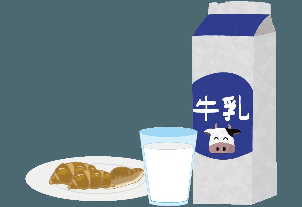 牛乳とパンの朝食イラスト