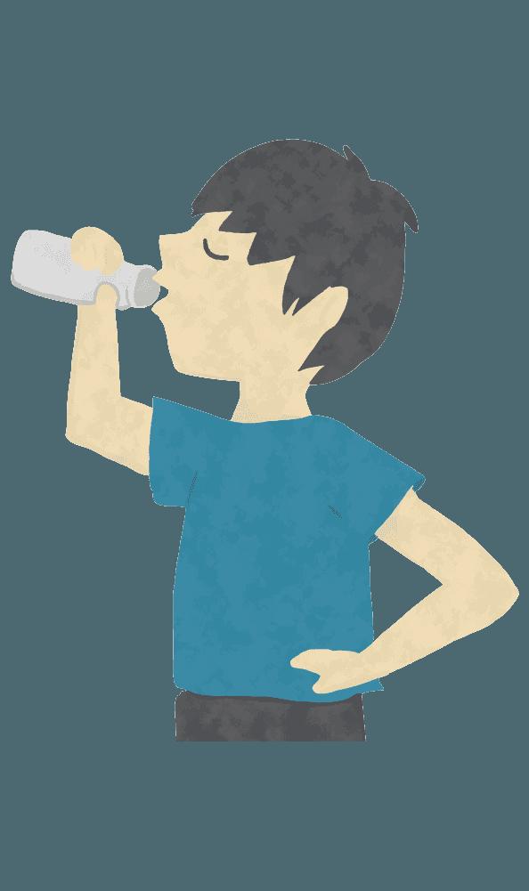 腰に手を当てて牛乳を飲む人のイラスト
