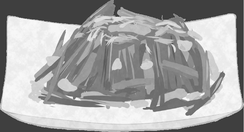 白黒のほうれん草の和物のイラスト