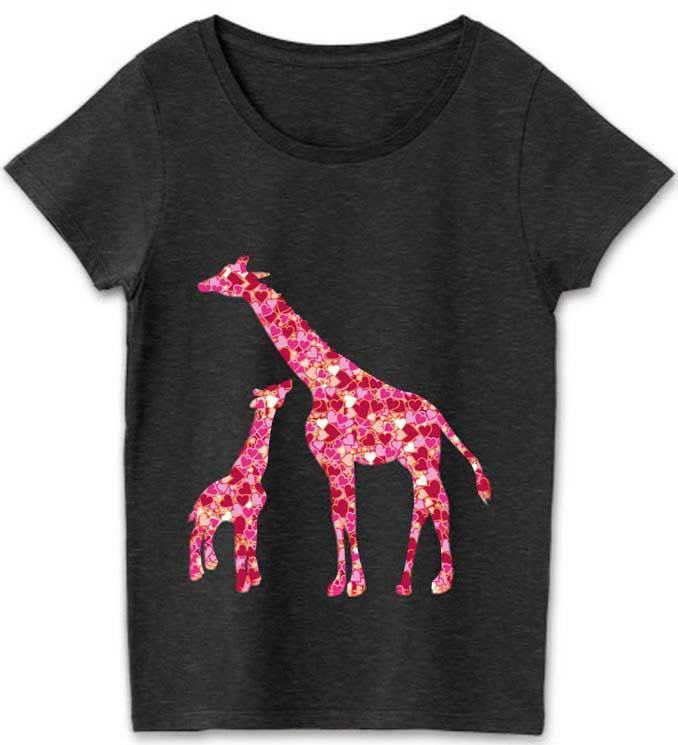 ハートマークでできたキリンの親子のTシャツ