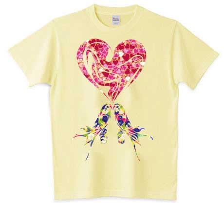 ハートマークとインコのTシャツ