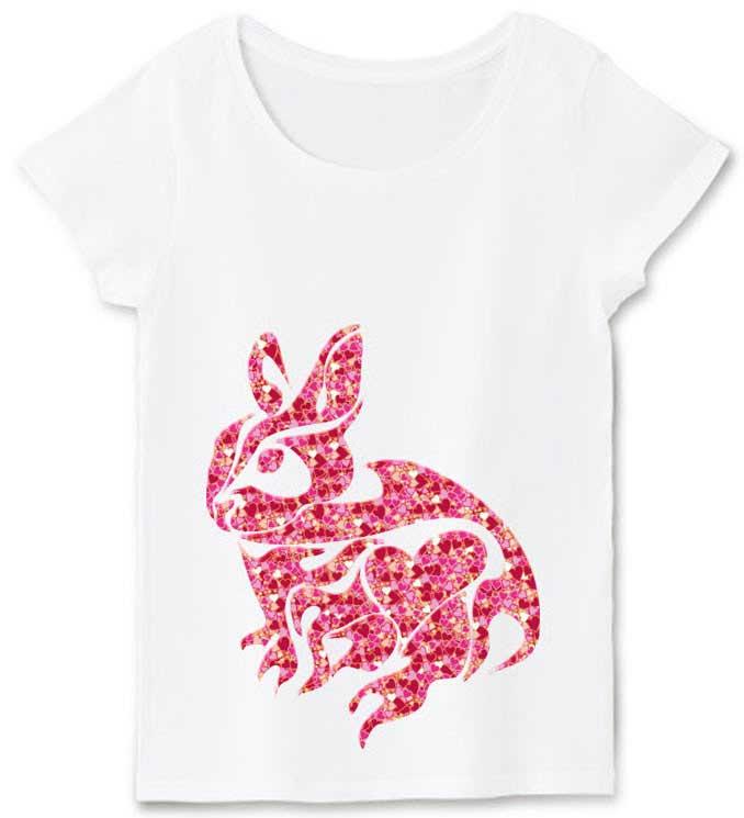 ハートとアートな線のうさぎマークTシャツ