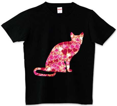 ハートの猫Tシャツ