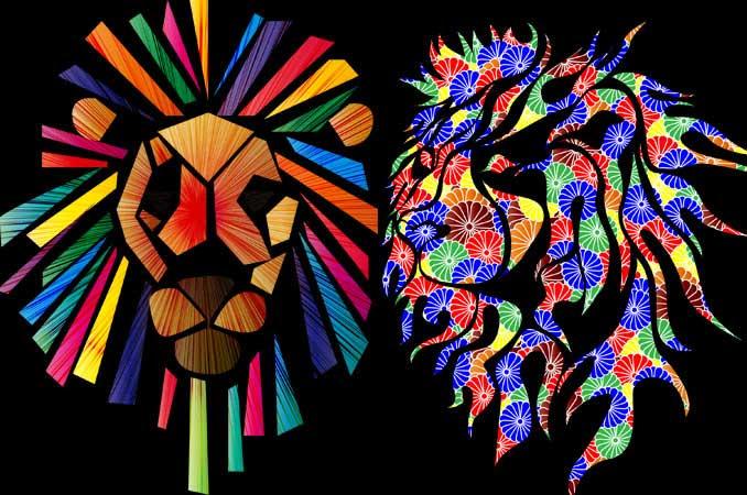 ライオンのTシャツデザイン