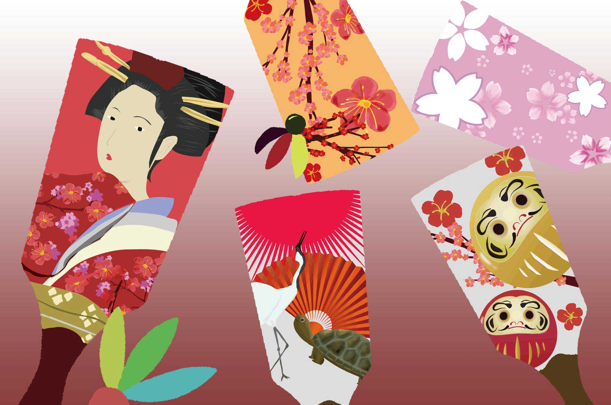 羽子板イラスト - お正月のおめでたい無料イメージ素材