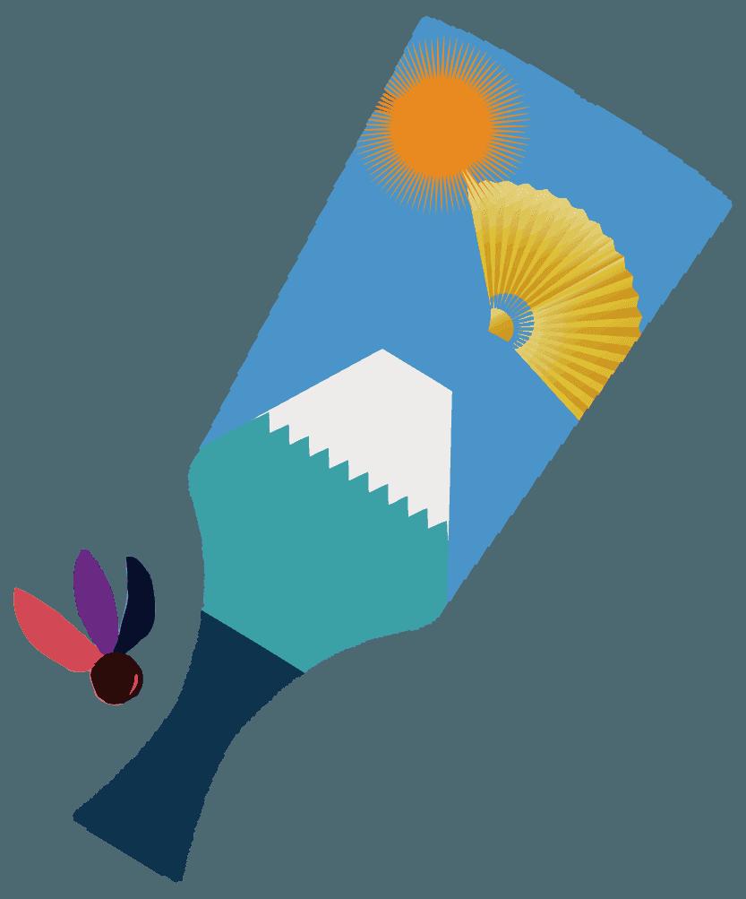 富士山と太陽の羽子板のイラスト