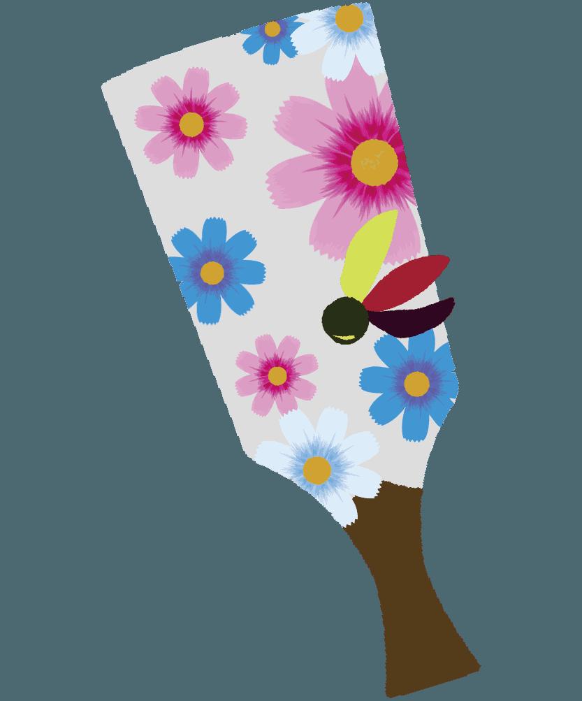 可愛いコスモスの羽子板のイラスト