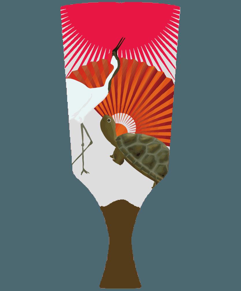 縁起のいい鶴と亀の羽子板のイラスト