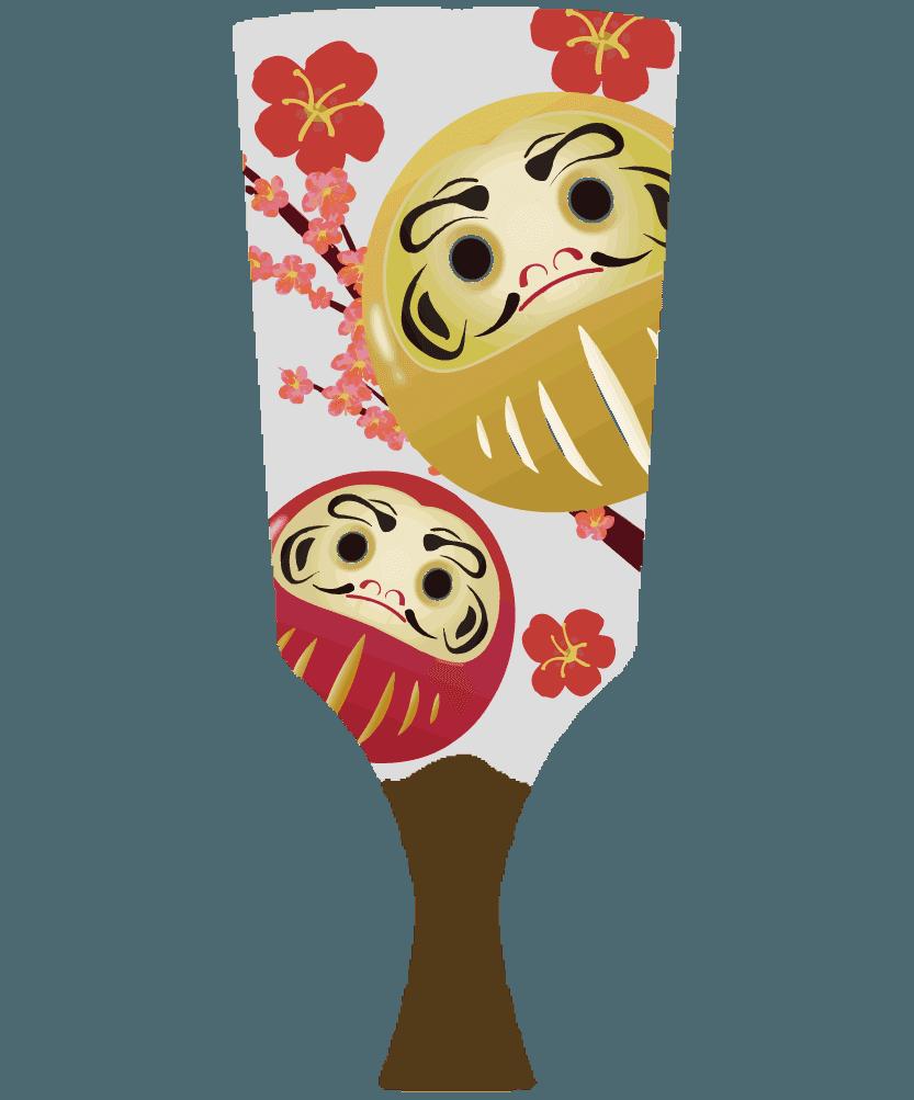 ダルマの羽子板のイラスト