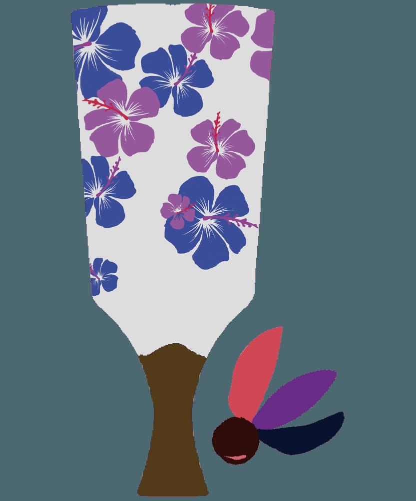 ハイビスカスのシンプルな羽子板のイラスト