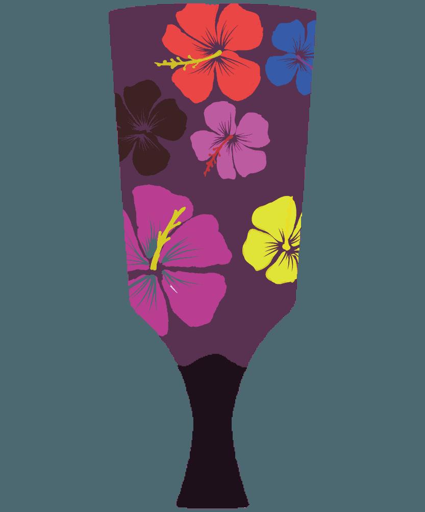 ガーリーなハイビスカスの羽子板のイラスト