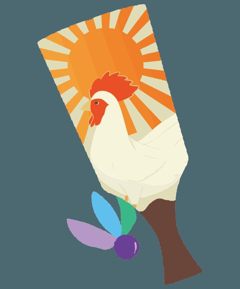 干支(鳥)と太陽の羽子板のイラスト