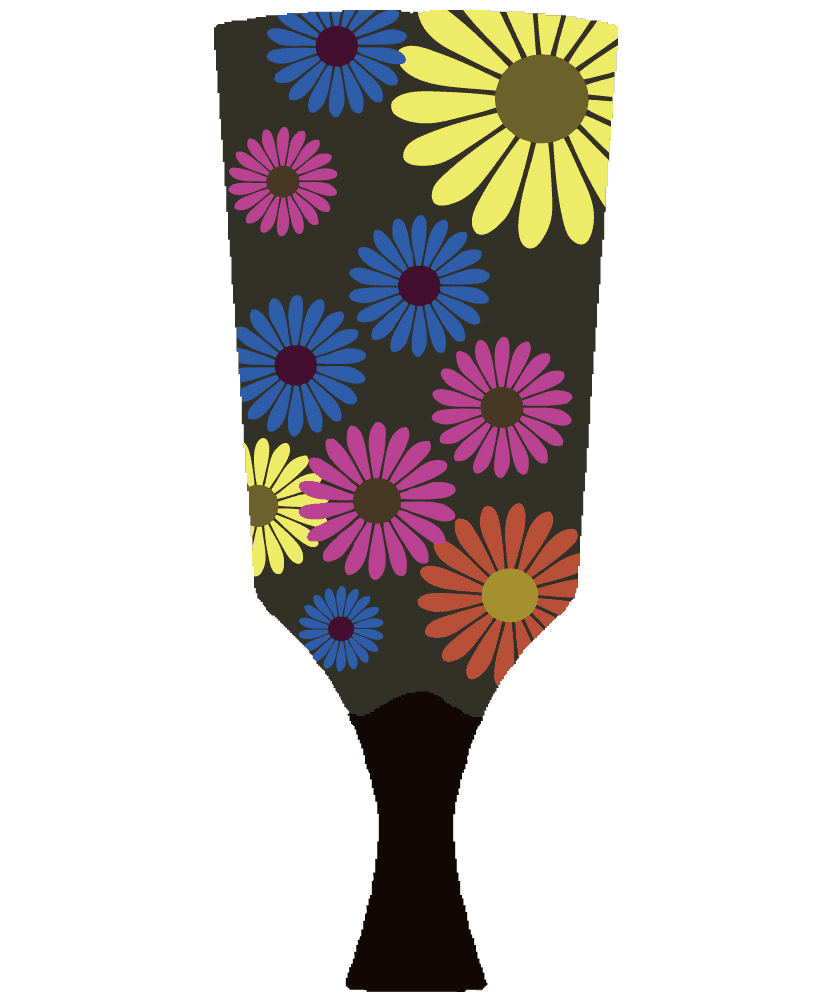 おしゃれなガーベラの羽子板のイラスト