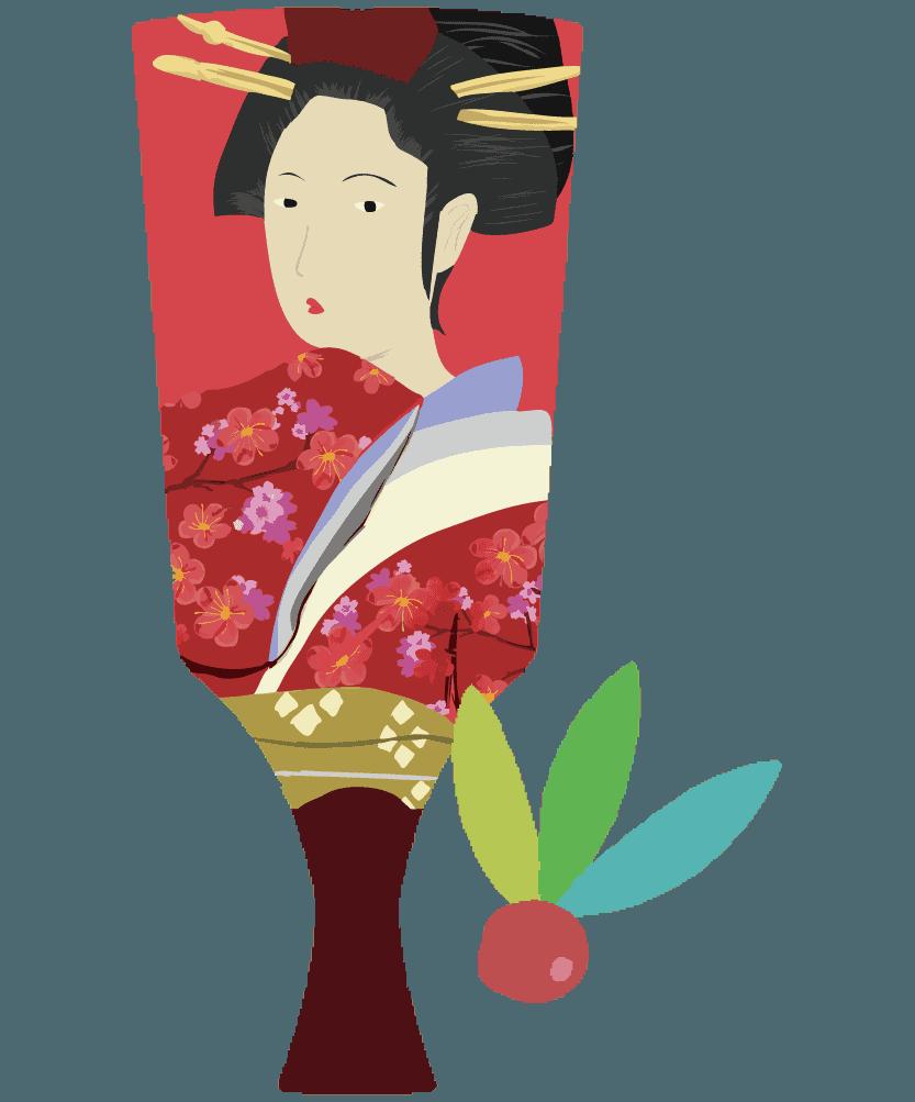 女性の浮世絵の羽子板のイラスト