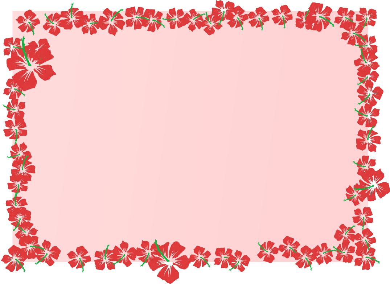 ハイビスカスの四角フレーム(背景あり)