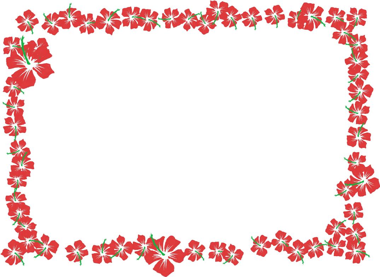 ハイビスカスの四角フレーム(背景なし)