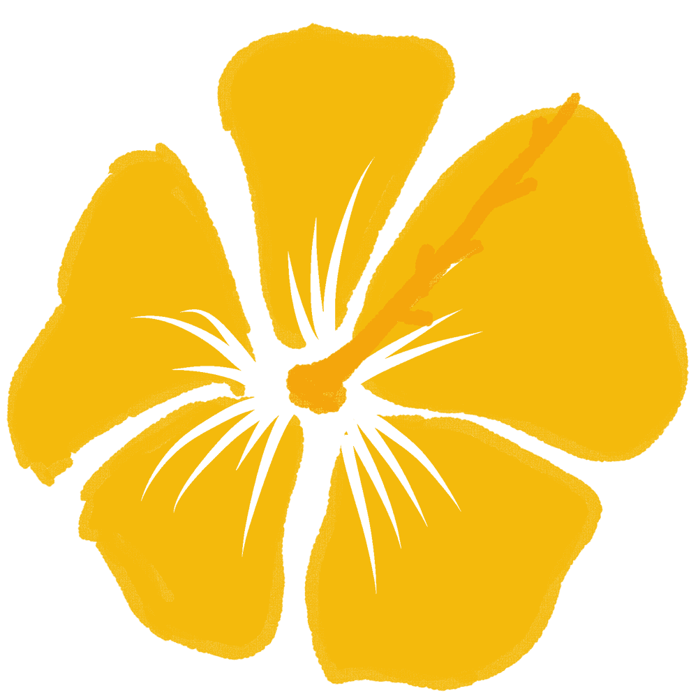 暗い黄色のハイビスカスイラスト