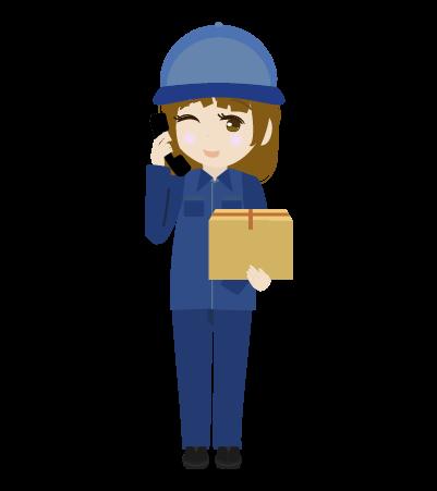 電話する配送員(男)のイラスト2