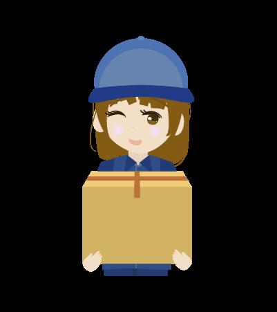 荷物を持つ配送員(女)のイラスト