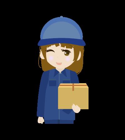 荷物を持つ配送員(女)のイラスト2
