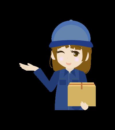 案内する配送員(女左手)のイラスト