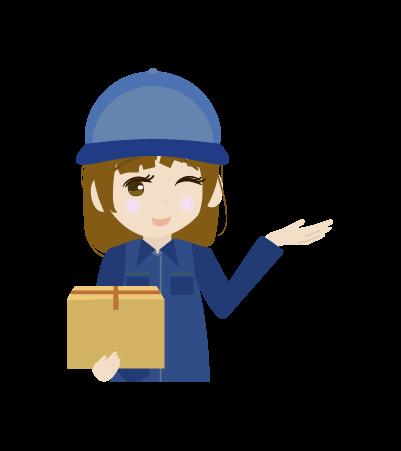 案内する配送員(女右手)のイラスト