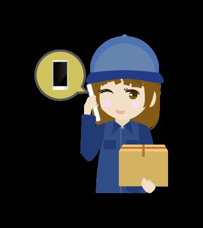 電話する配送員(女)のイラスト