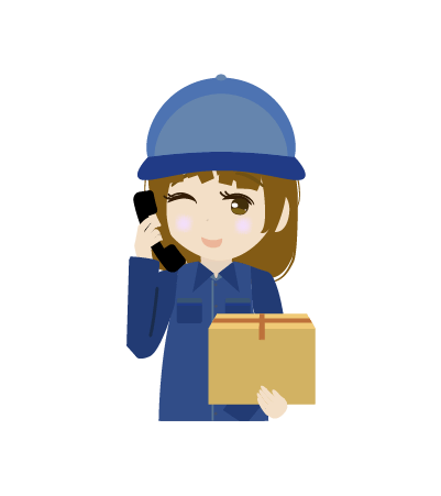 電話する配送員(女)のイラスト2