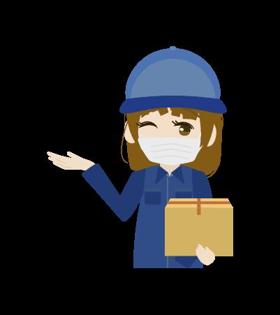 マスクをする配送員(女)のイラスト