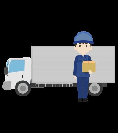 トラックと配送員のイラスト