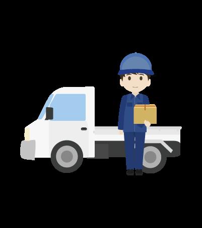 軽トラックと配送員のイラスト