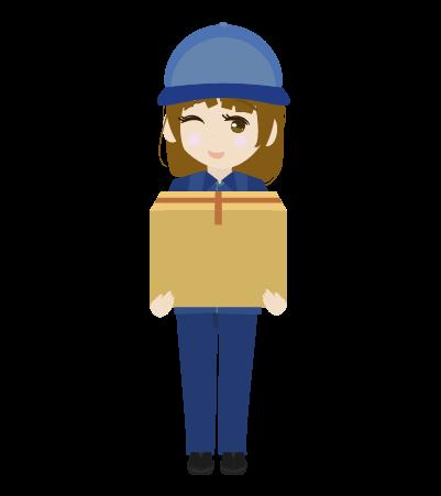 荷物をもつ配送員(女)のイラスト