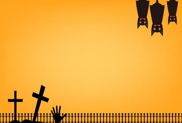 ハロウインの背景(コウモリとお墓)のイラスト