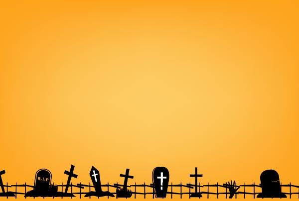 ハロウインの背景(墓地)のイラスト