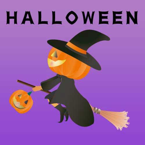 ハロウィンのジャックランタン魔女