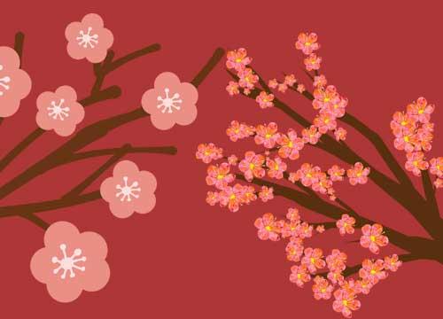 梅の花イラスト背景つき