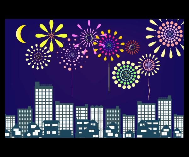都会の夜空と打ち上げ花火のイラスト