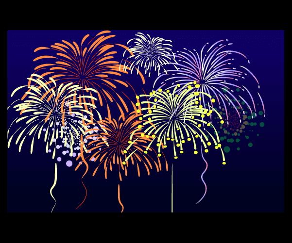 夜空と打ち上げ花火のイラスト
